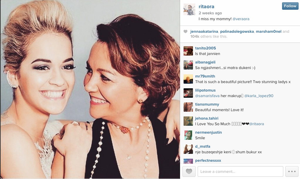 Rita and her mum, from her Instagram feed